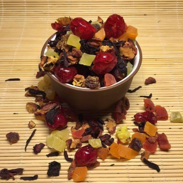 фруктовый чай каркаде с цукатами; чайный свет; интернет-магазин чая москва