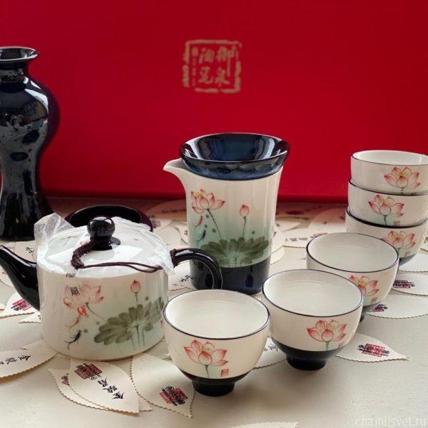 посуда для чая; чайный свет; чайные пиалы; сервиз для чая; китайский чайный набор; красный лотос